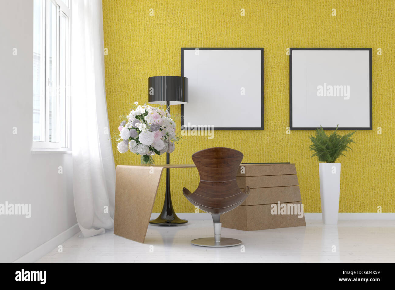 Stylish modern living room interior with yellow decor and two blank ...