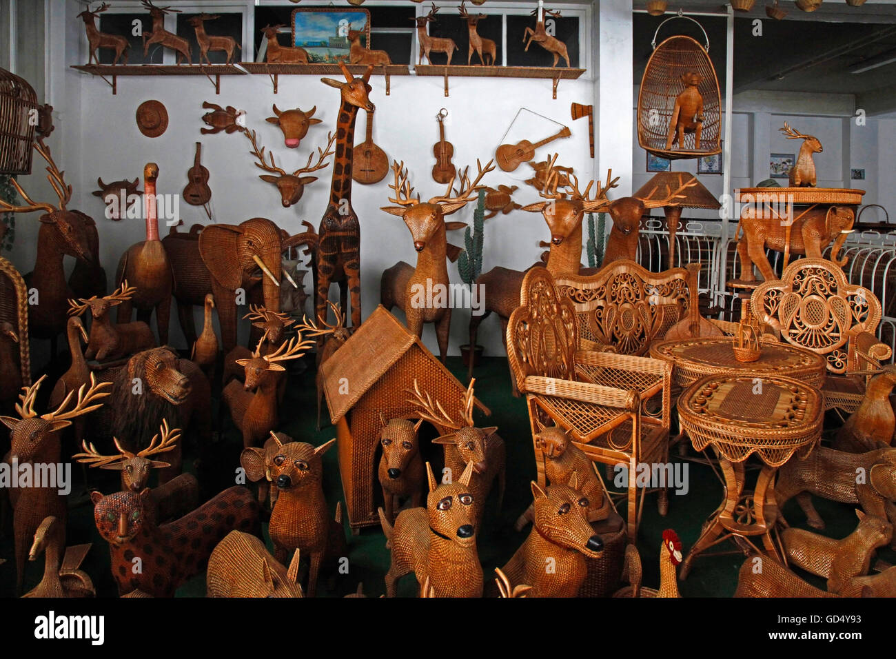 Basket-making, Camacha, Island of Madeira, Portugal - Stock Image