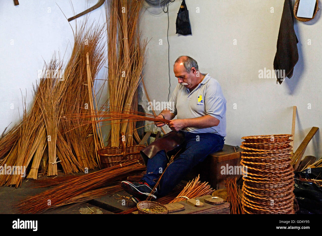 Basket-maker, Camacha, Island of Madeira, Portugal - Stock Image
