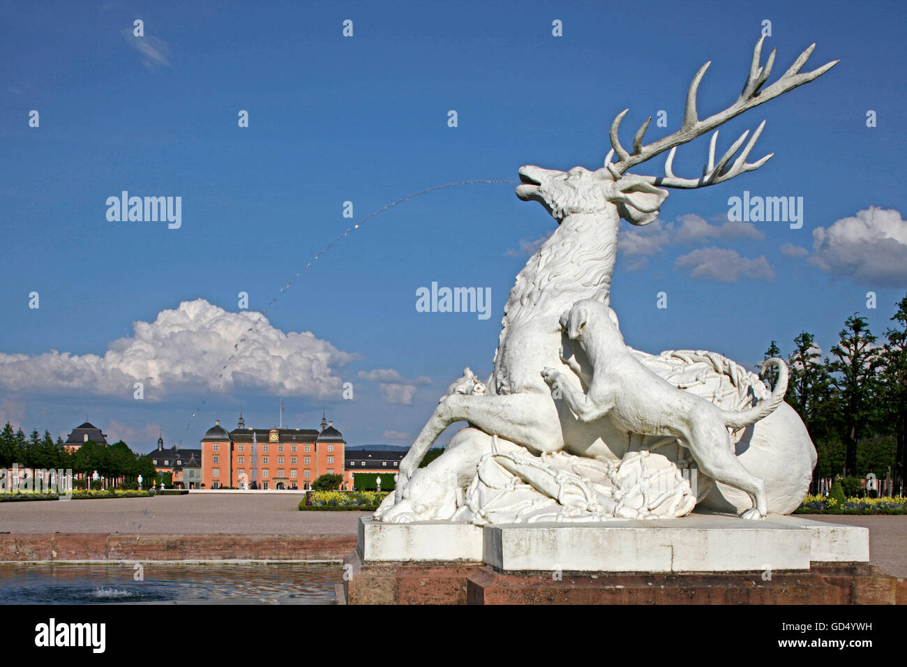 Schwetzingen Castle, castle park, deer fountain, Schwetzingen, Baden-Wurttemberg, Germany - Stock Image