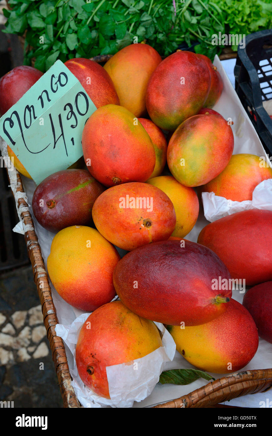 Fruit sale, market hall, Funchal, Madeira, Portugal - Stock Image