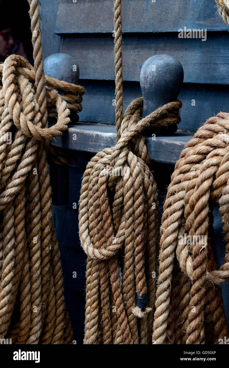Seil, Schifftaue, Taue, Seile, Schifffahrt, Segelschiff - Stock Image