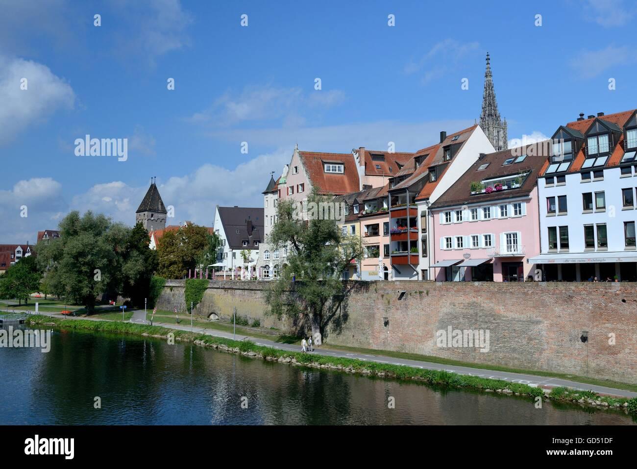 Muenster, Metzgerturm und Donau, Stadt, Ulm, Baden-Wuerttemberg, Deutschland Stock Photo