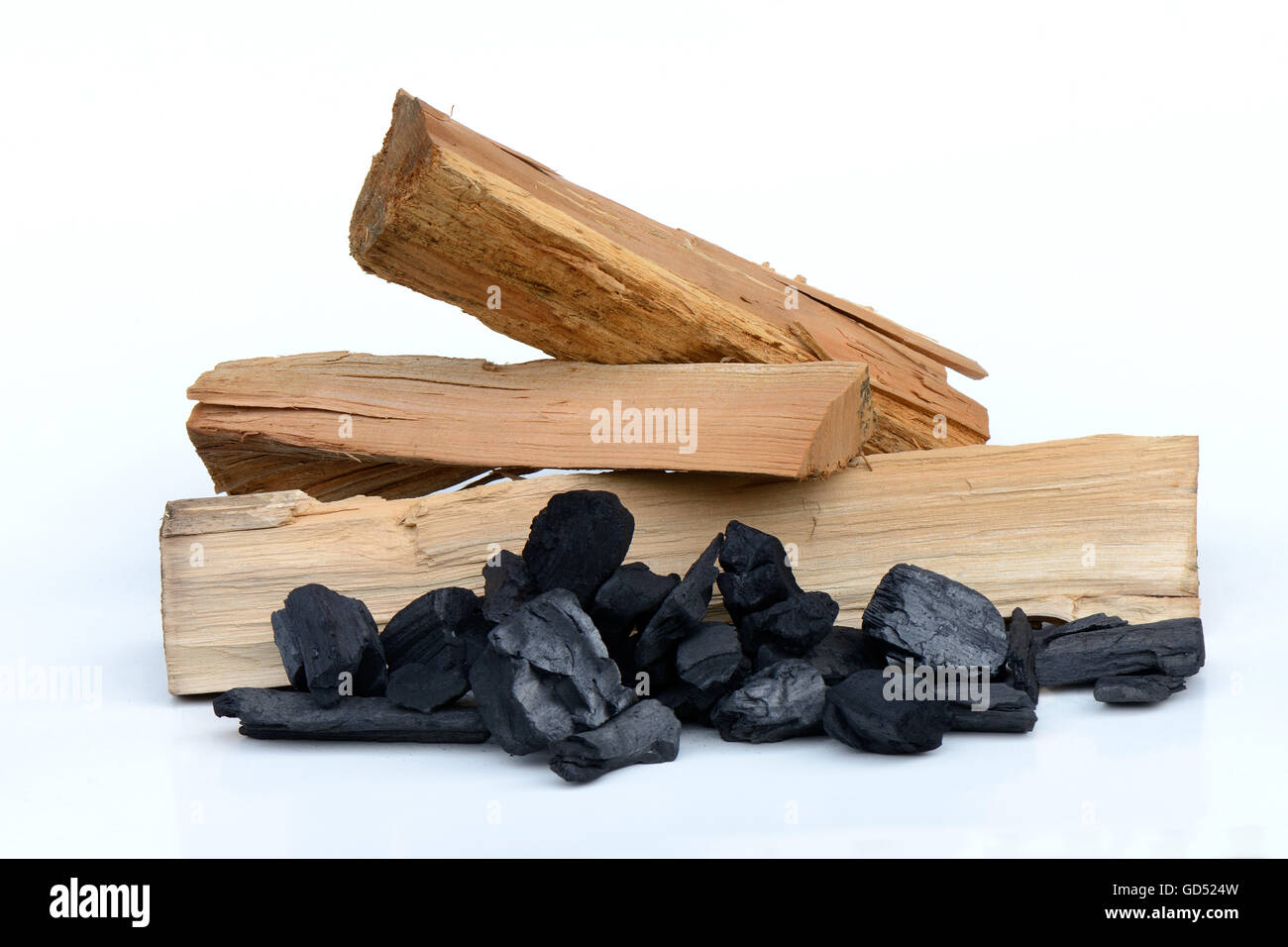 Fire wood and charcoal - Stock Image