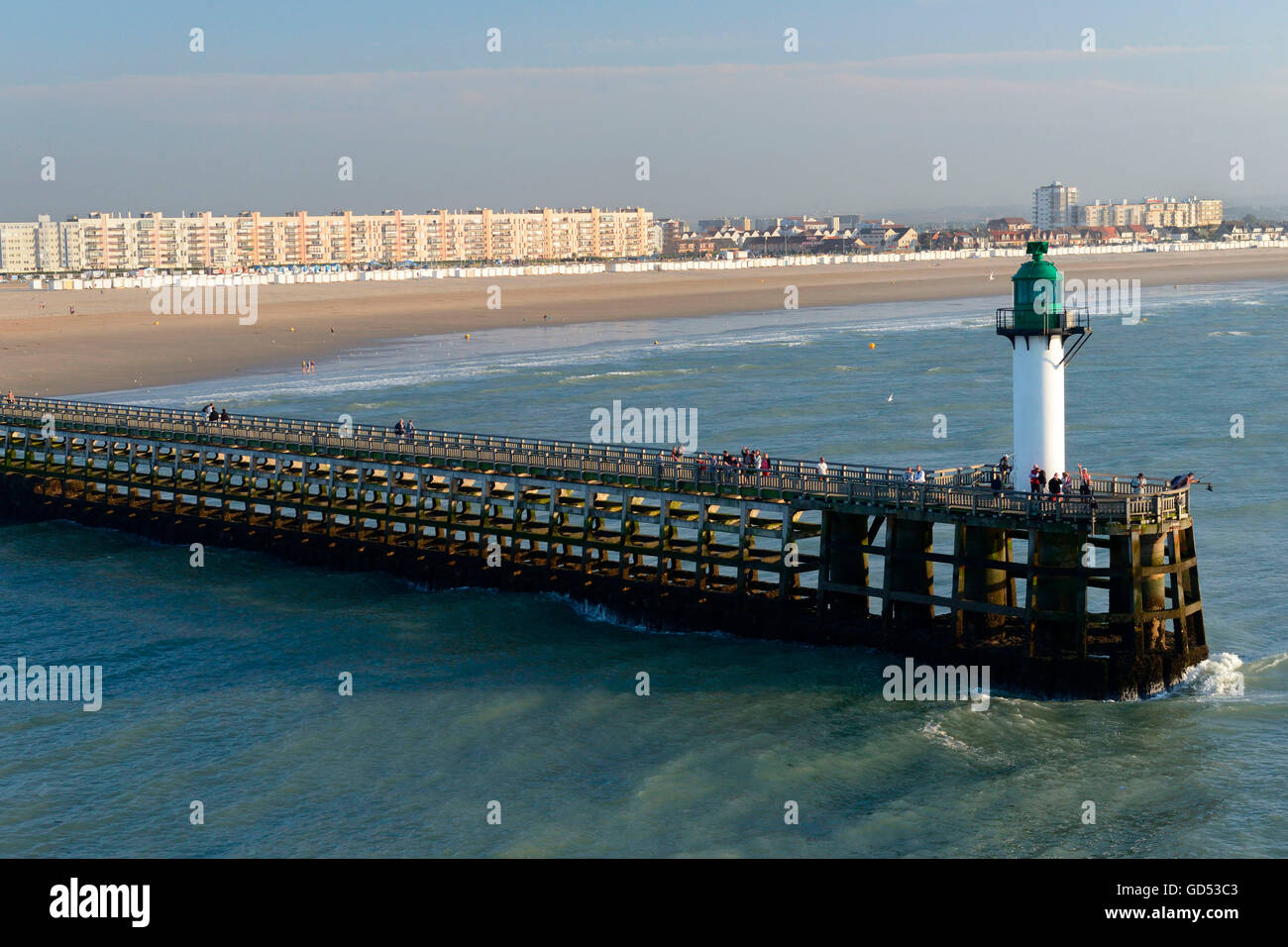 Harbour entrance and beach, Calais, France - Stock Image