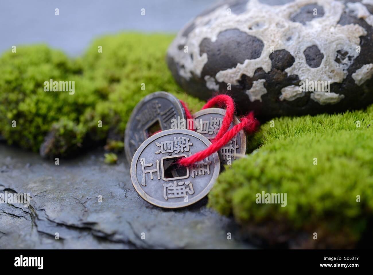 Chinesische Gluecksmuenzen mit Moos und Stein, Glueck - Stock Image