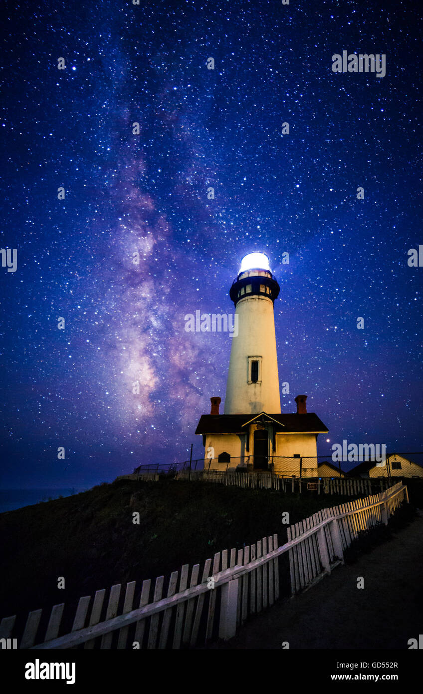 Starry night and Milky Way at Pigeon Point Lighthouse, Pescadero, California, USA - Stock Image