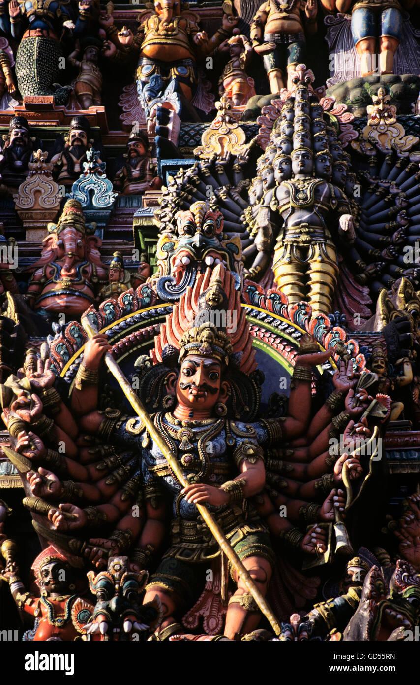 Temple sculptures in Meenakshi Temple - Stock Image