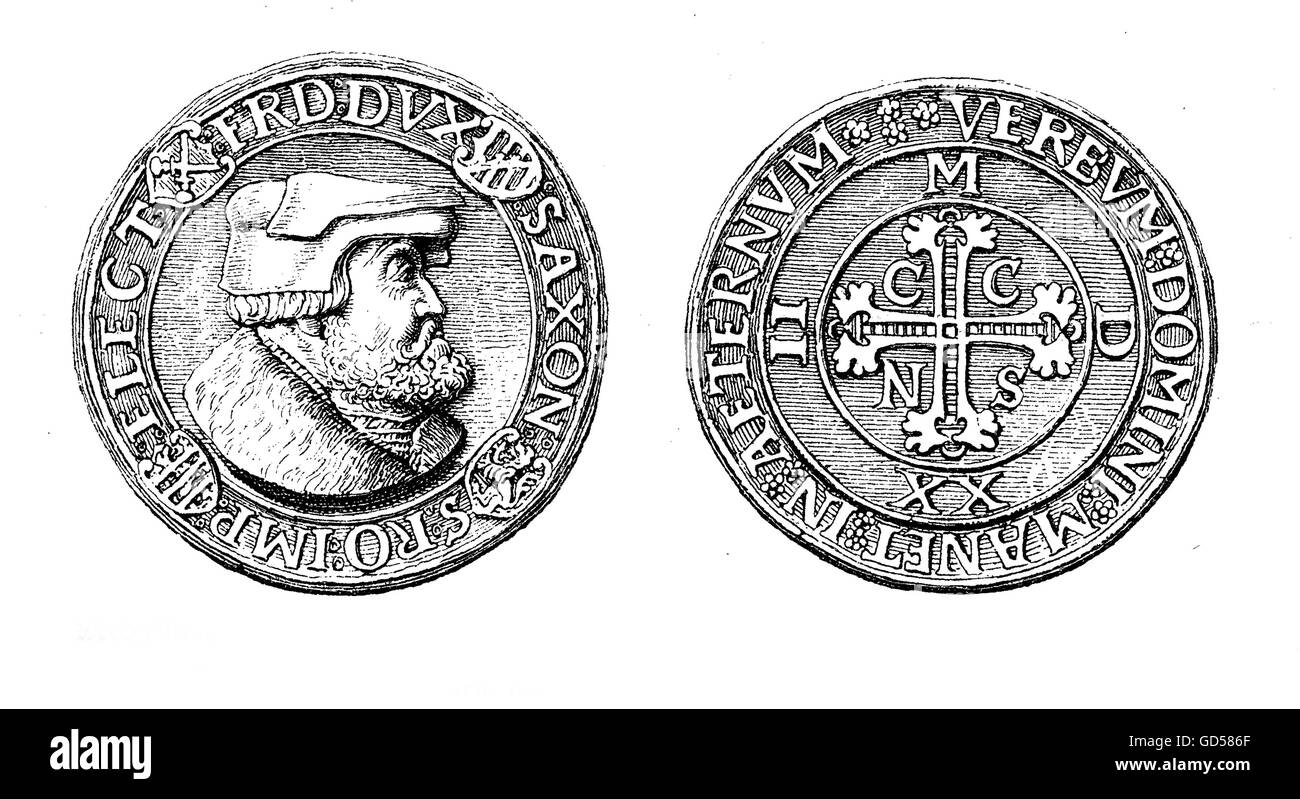 XVI century, medal-like silver thaler of Friedrich the Wise of Saxony, bearing on the front the head of the Prince - Stock Image