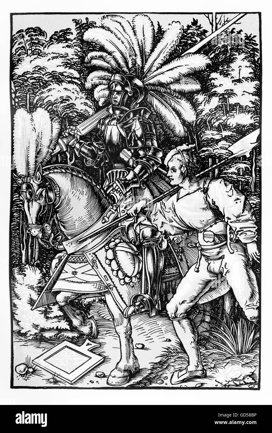 Knight and squire, XVI century.The 'squire' (Fussknecht) in the title shouldn't be misread: at the time - Stock Image