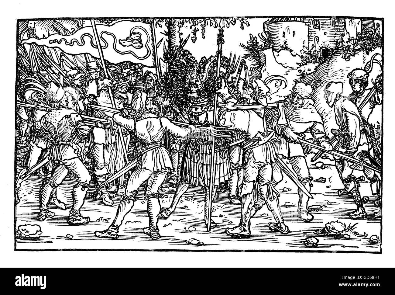 XVI century, scene of the German Peasant's war depicting sedictionists with the boot-bearing banner symbolizing - Stock Image