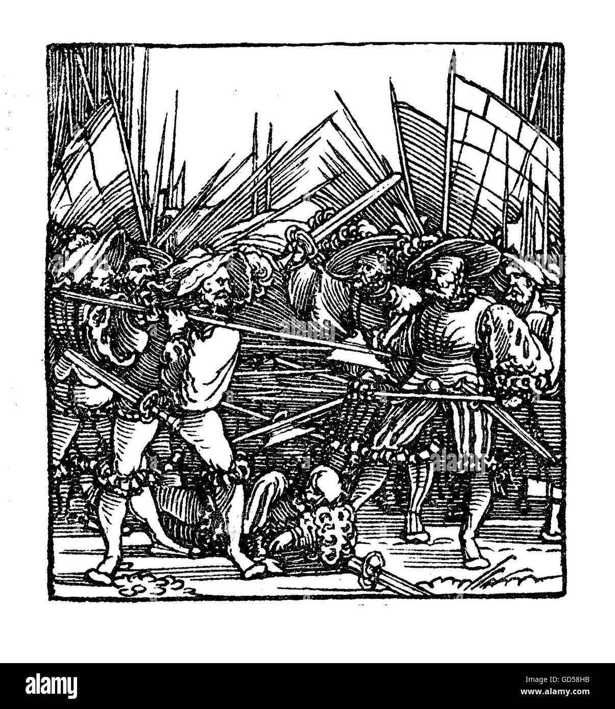 Fight in the German Peasants war, XVI century,pamphlet page. The page is titled 'Ein new Lied / wie es vor Rastat - Stock Image