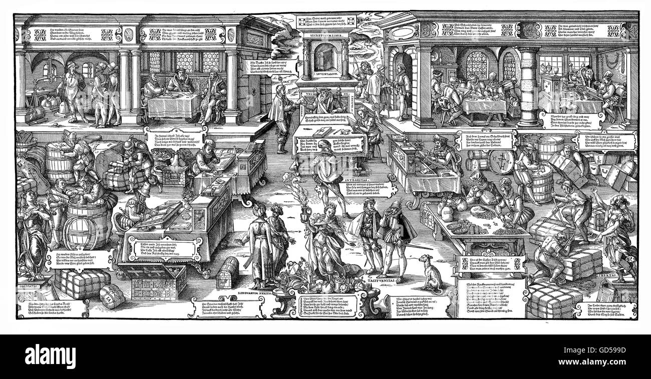 XVI century, Allegory of Trade, engraving by Jost Amman (1539-1591): book  keeping, weighing and storing goods while merchants seat in the background