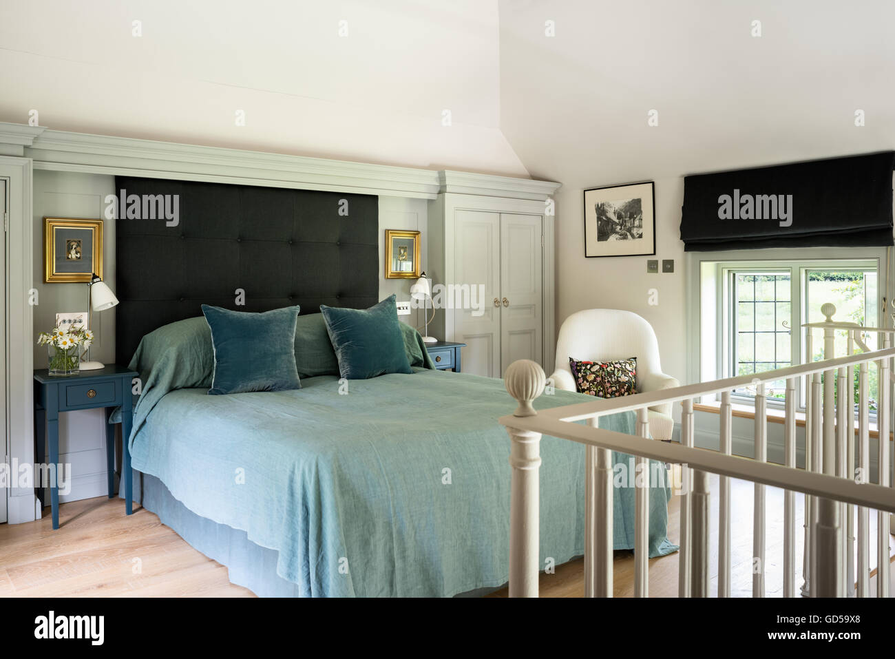 Light Bedroom With Headboard And Blinds Made By Clemency Rittner