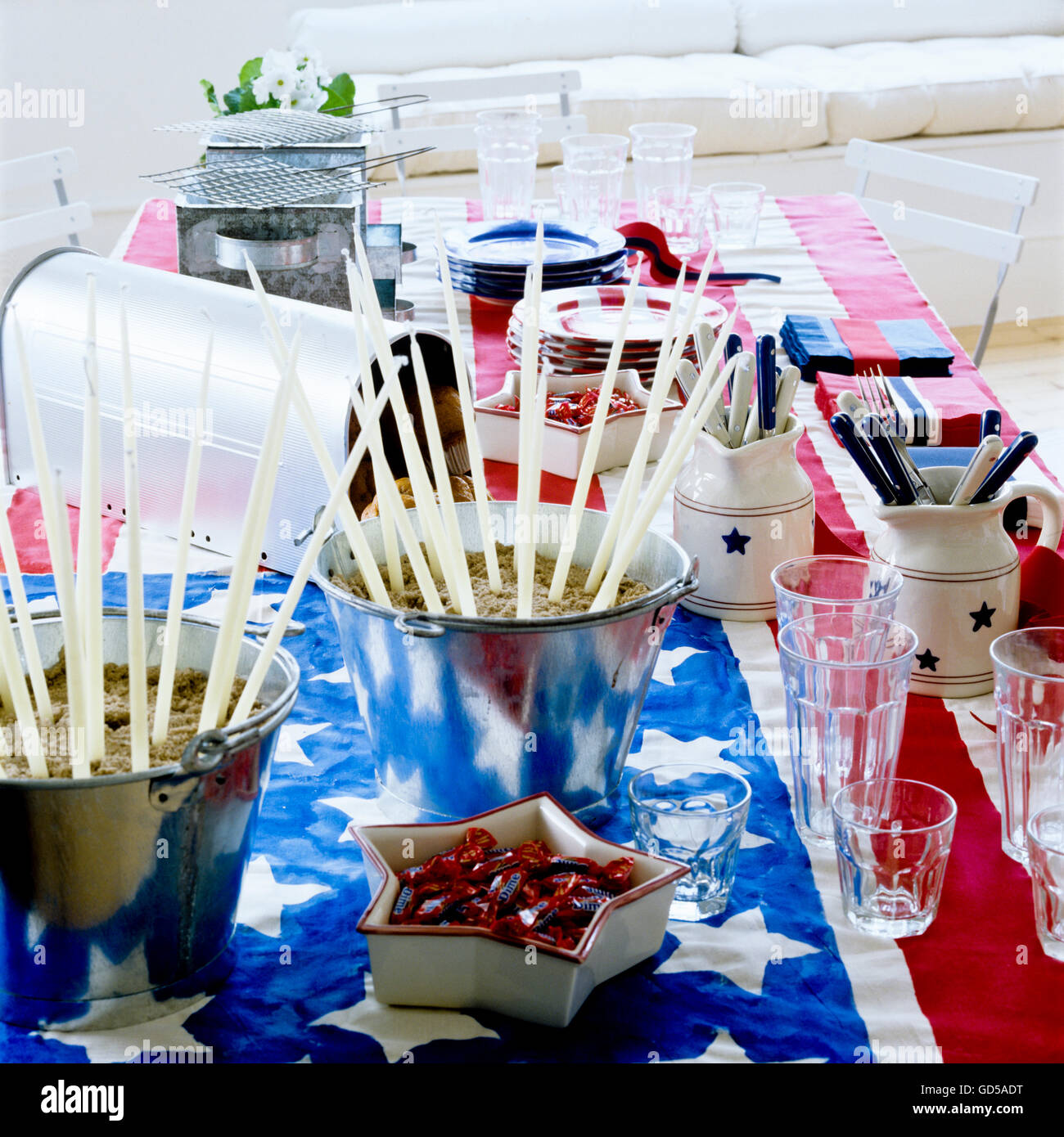 American themed table - Stock Image