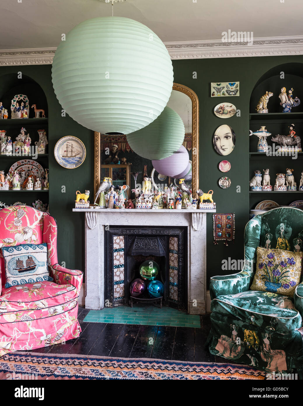 Eclectic Drawing Room Painted In Sherwood Green By Farrow