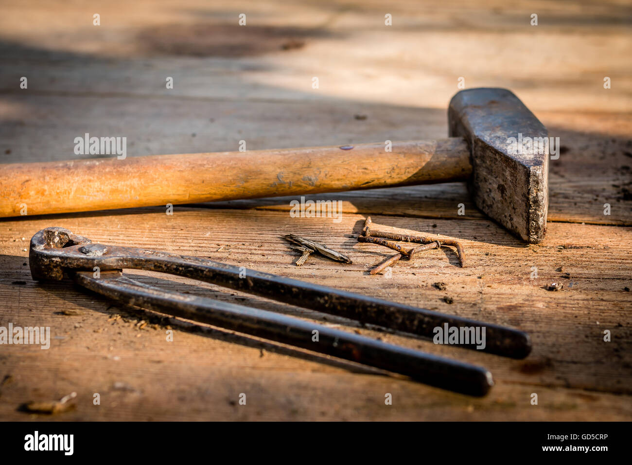 Carpenter tools - hammer, nails and pincer - Stock Image