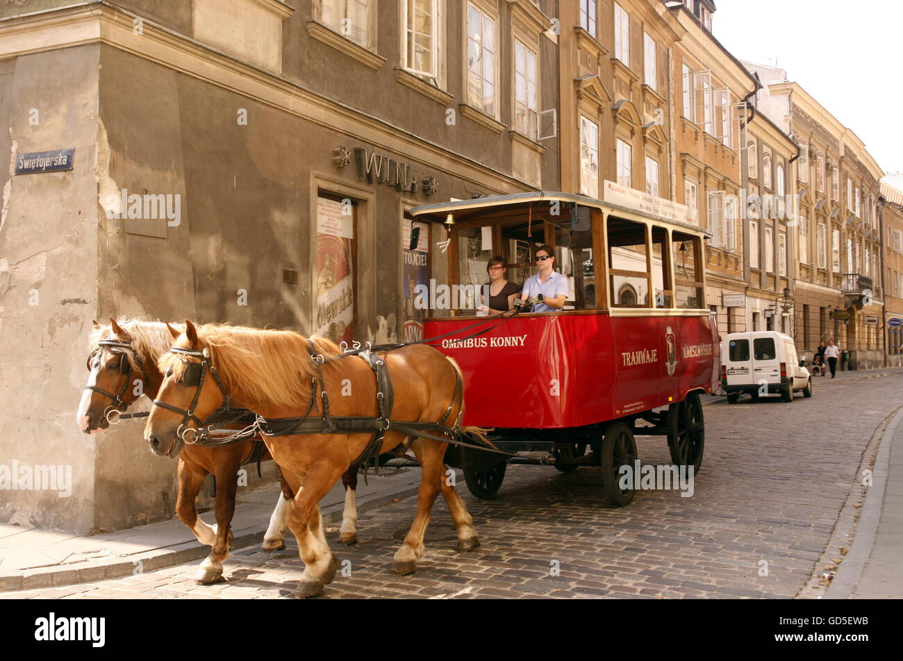 a streetszene in the old town  in the City of Warsaw in Poland, East Europe. - Stock Image