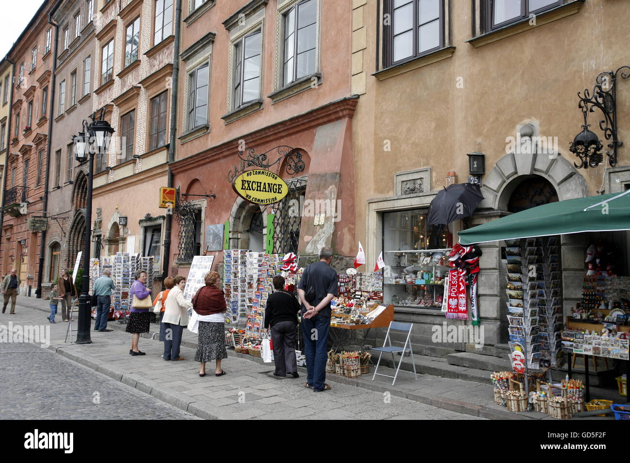 a street market in the old town  in the City of Warsaw in Poland, East Europe. - Stock Image