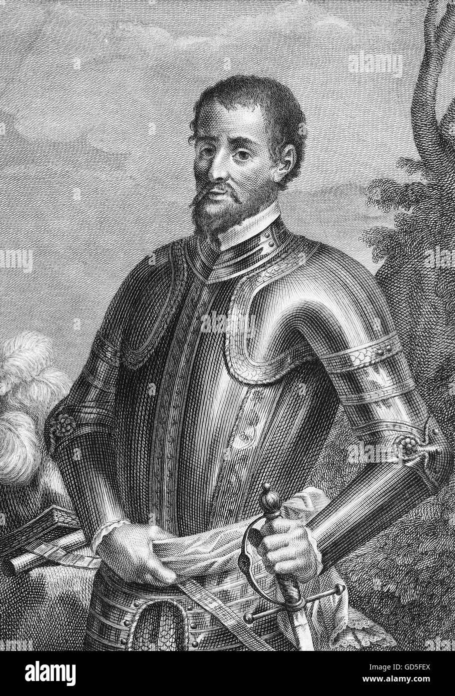 Hernando de Soto (c. 1500-1542), the Spanish explorer and conquistador who led the first European expedition into - Stock Image