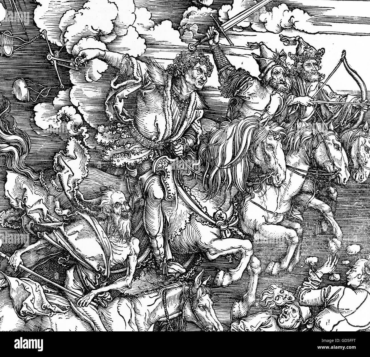 Four Horsemen of the Apocalypse by Albrecht Dürer, 1511, woodcut print.  This is a detail from a larger print, GD5FG9