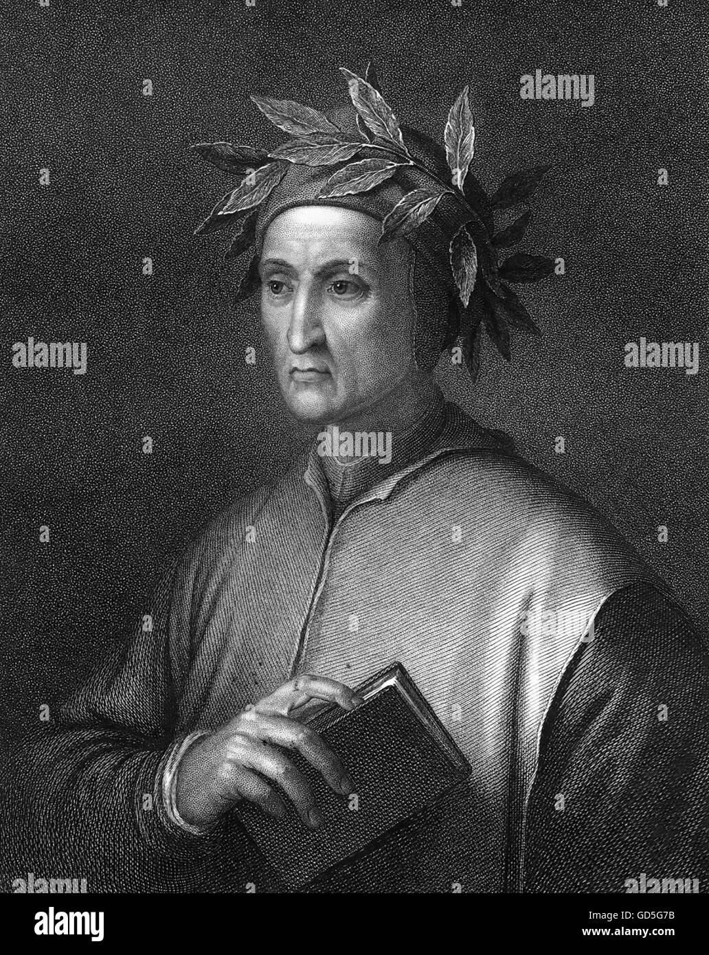 DANTE ALIGHIERI (c 1265-1321) Italian poet. 19th century steel engraving based on 1495 portrait by Botticelli - Stock Image