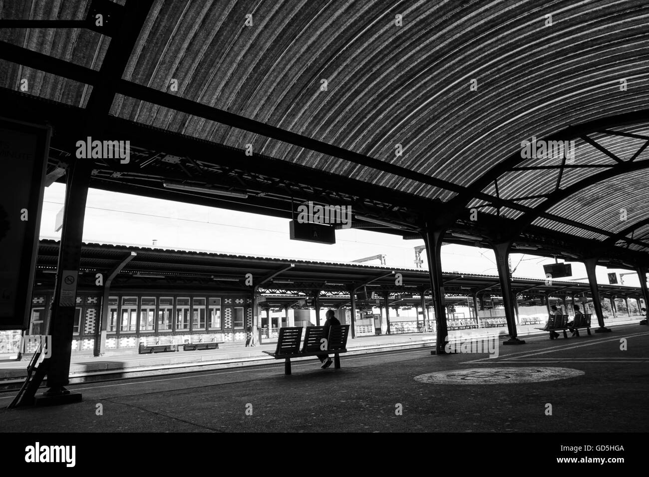 Railway platform and roof, colmar, france, europe - Stock Image