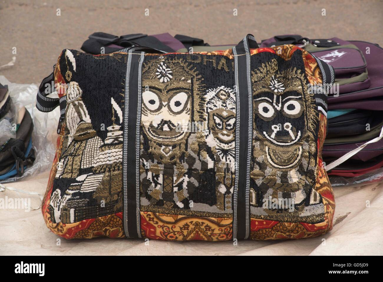 Hand bag design of deities, puri, orissa, india, asia - Stock Image