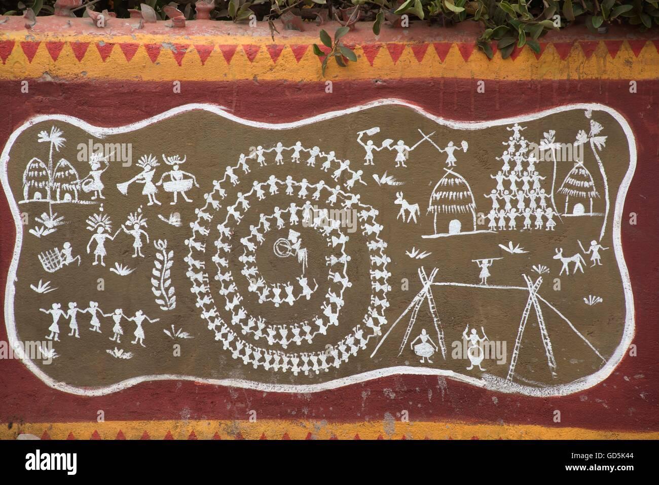 Warli painting, puri, orissa, india, asia - Stock Image