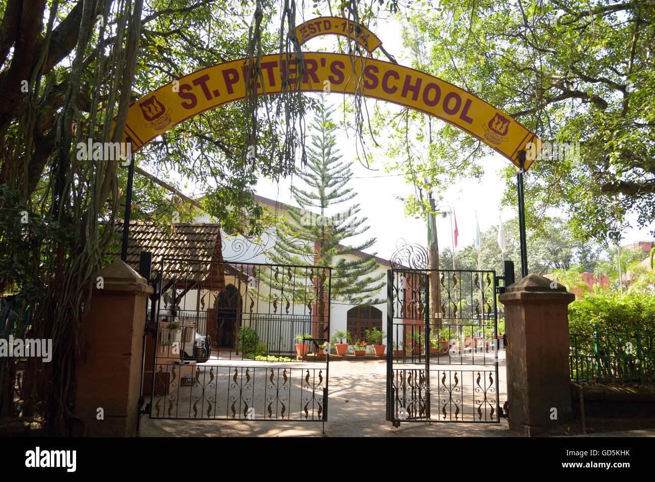 Sign board of st peter school, panchgani, satara, maharashtra, india, asia - Stock Image