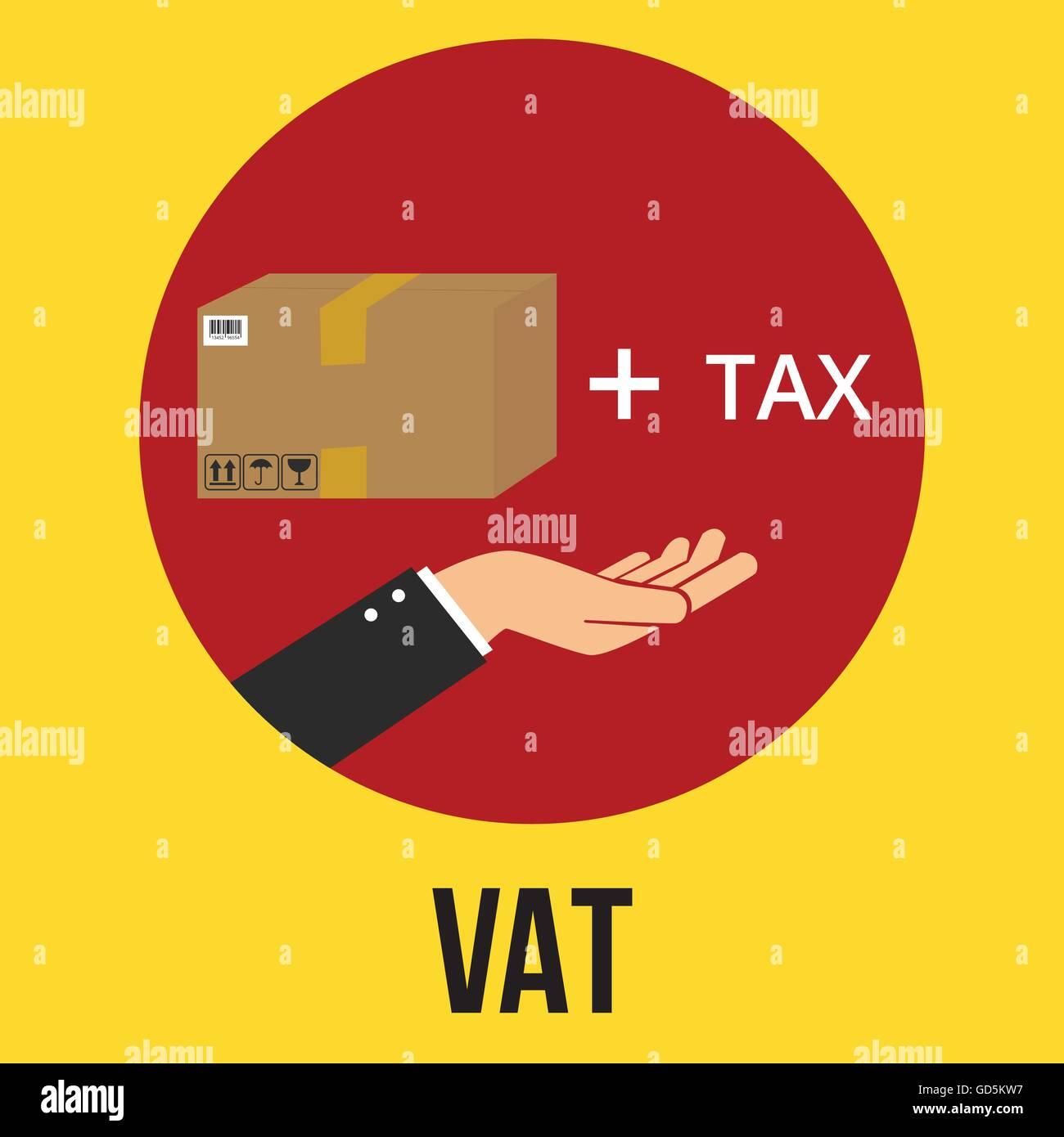 vat value added tax illustration goods plus tax and customer vector - Stock Vector