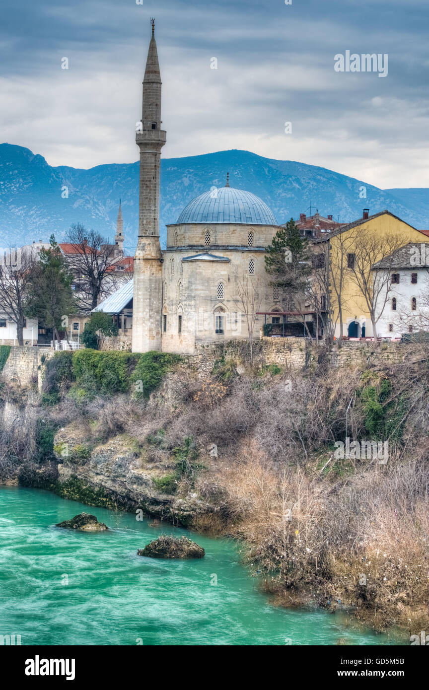 City of Mostar on the Neretva River, named after the bridge keepers who in the medieval times guarded the Stari - Stock Image