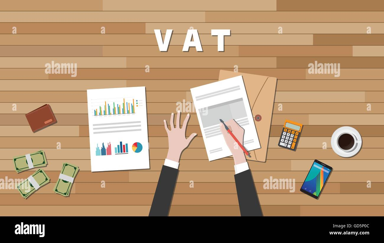 vat value added tax with businessman hand write a graph and text on work desk vector graphic - Stock Vector