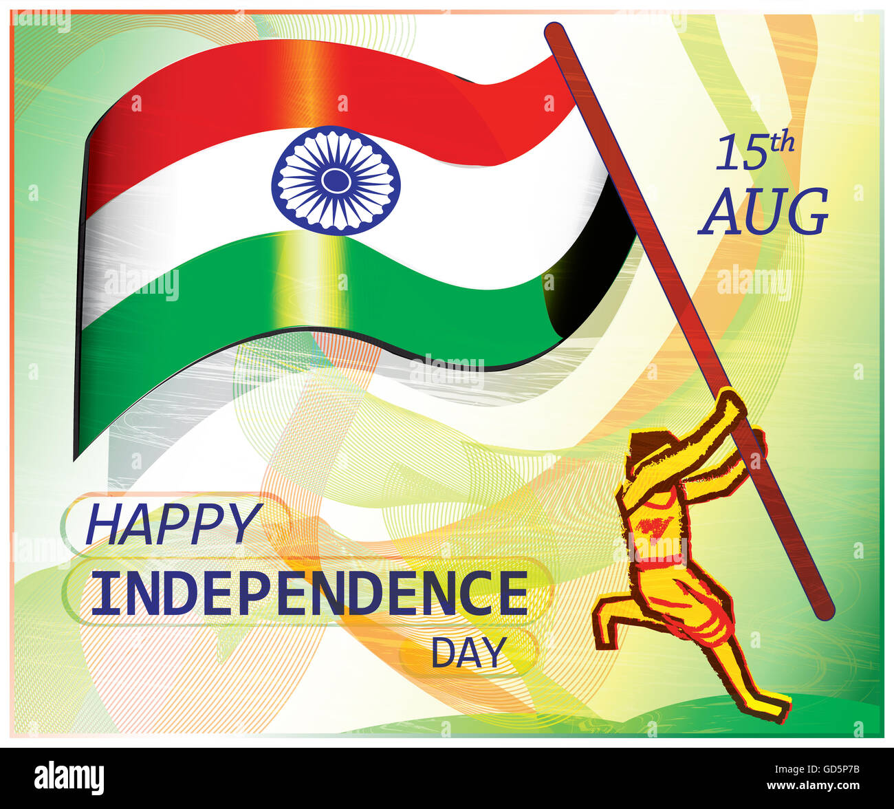 Poster on Indian independence day.A patriot jumps to hoist the flag.Colorful artistic presentation of patriotism. - Stock Image
