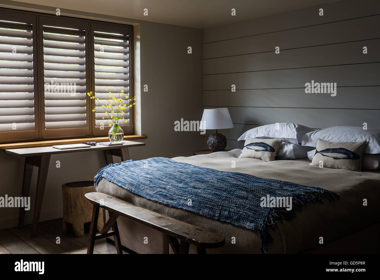 Plantation Shutters In Bedroom With Smoked Oak Floorboards