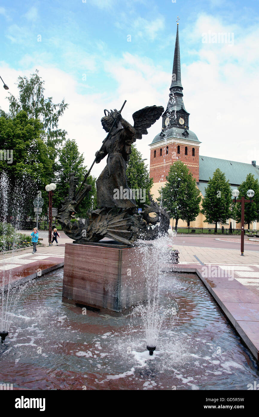 Per Nilsson-Öst sculpture the Victory of the good in the pedestrian zone - Stock Image
