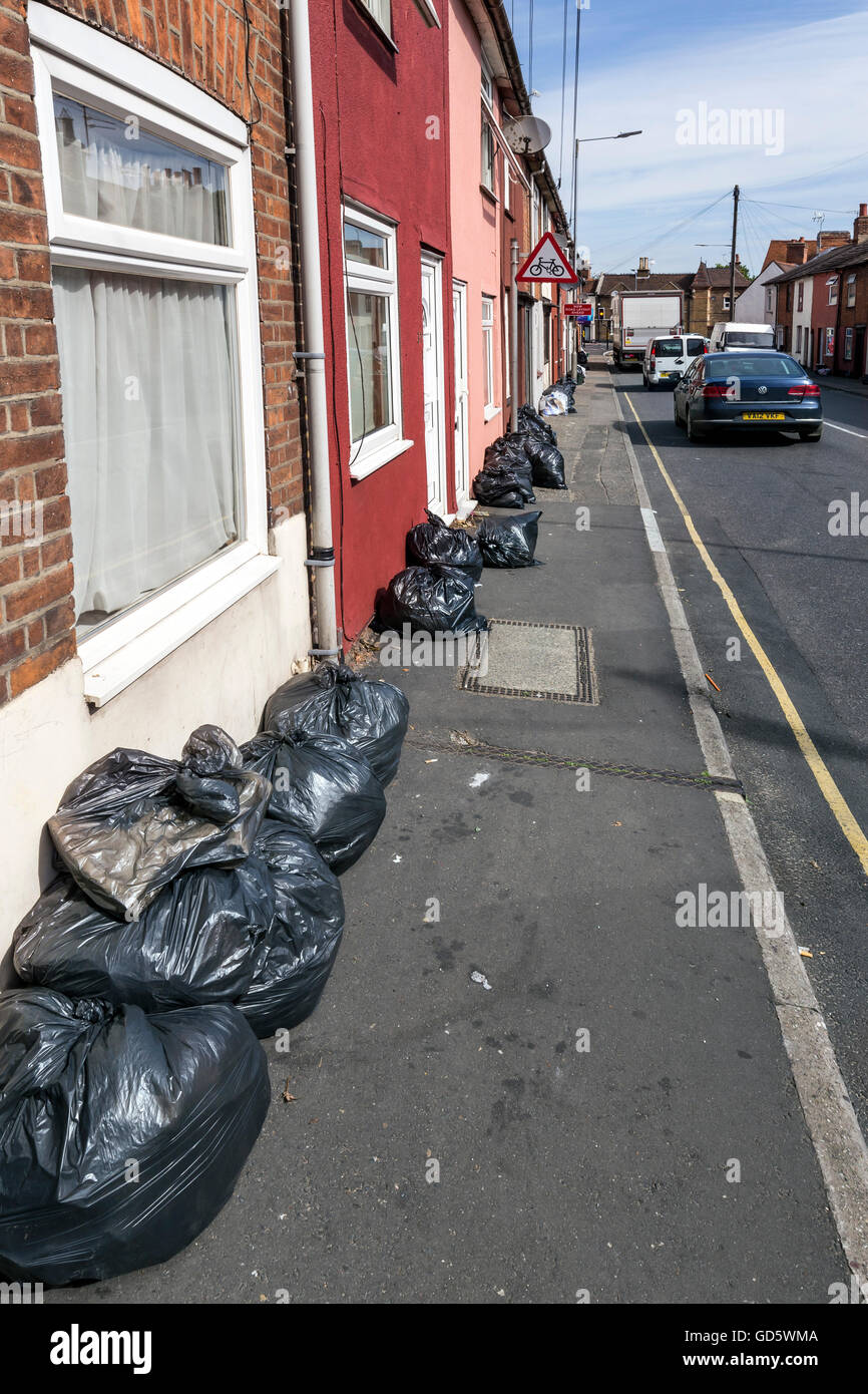 Rubbish bags out for collection in Colchester - Stock Image