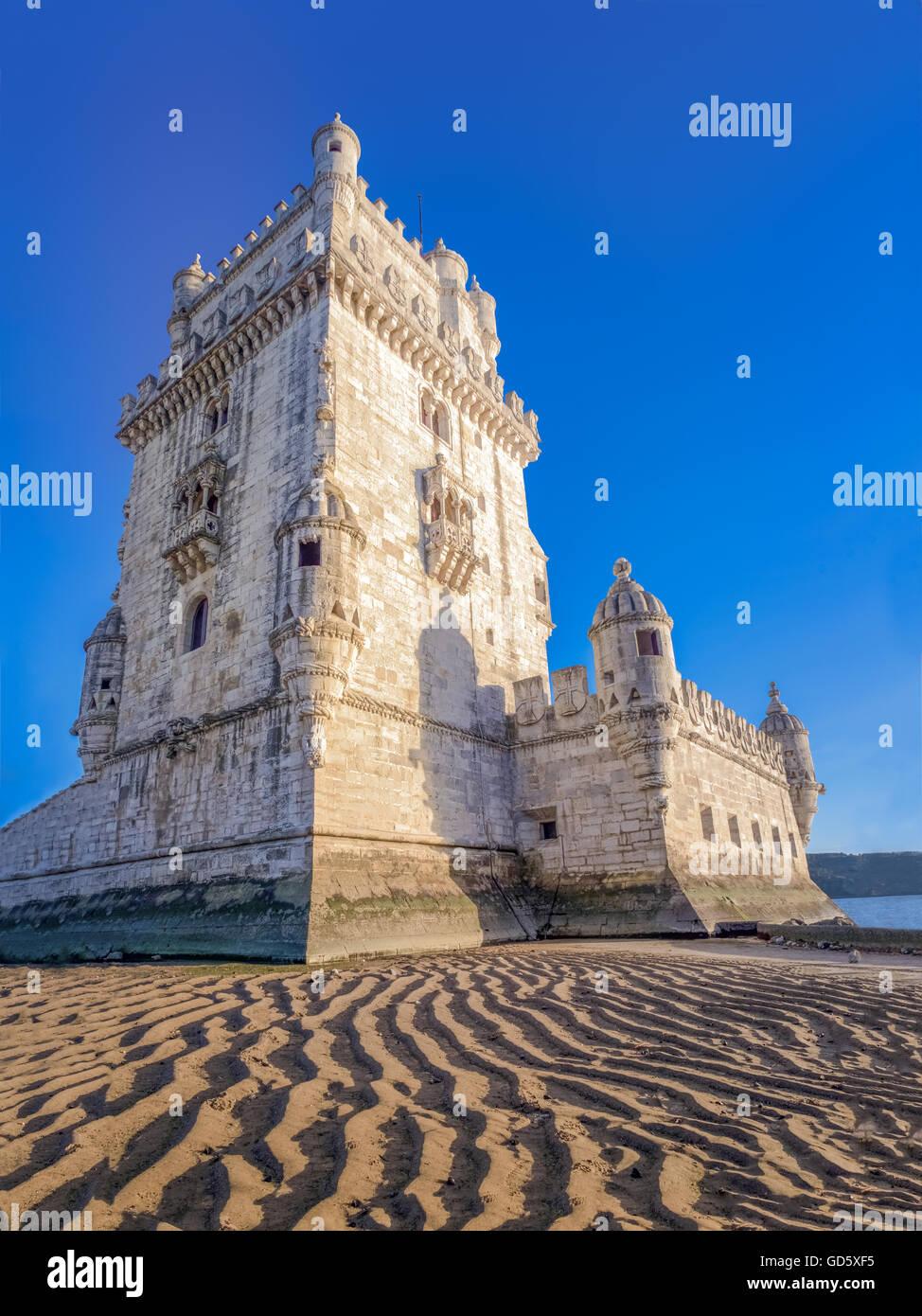 Belem Tower (Torre de Belem, Manueline style, Portuguese late gothic). A UNESCO World Heritage Site. Lisbon, Portugal - Stock Image