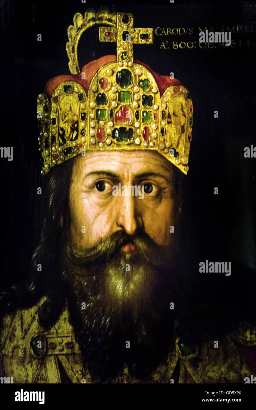 Charlemagne in his coronation with the imperial crown Albrecht Dürer 1471-1528  Charlemagne Karl was to 747, - Stock Image