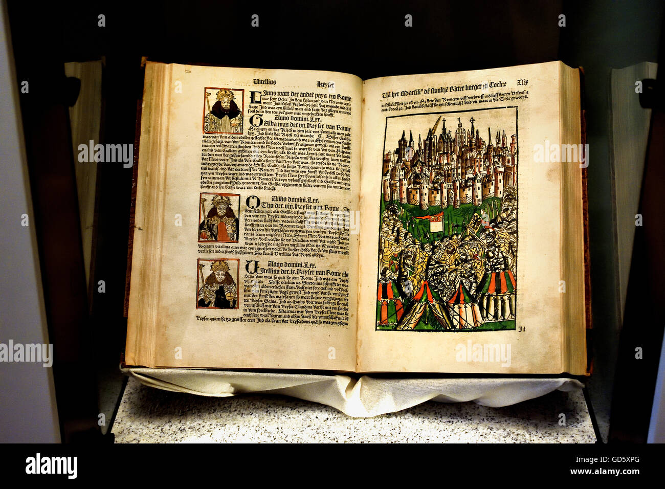 Koelhoffsche Chronicle is the name of Johann the Younger Koelhoff derived chronicle of the city of Cologne from - Stock Image