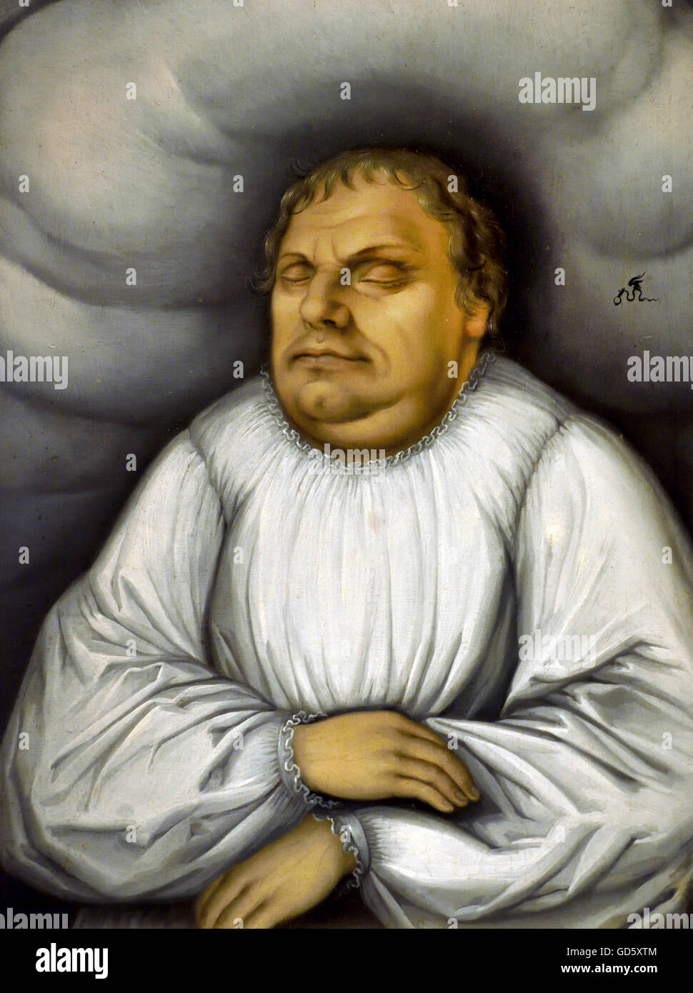 Martin Luther on his deathbed 1600 Lucas Cranach the Elder 1472 - 1553 German Germany  Germany ( German professor - Stock Image