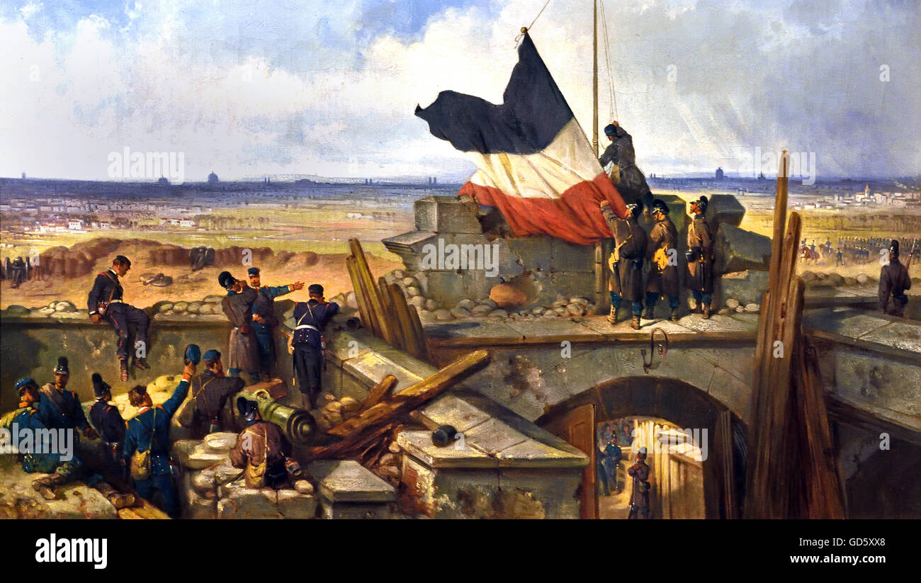 Hoisting the German Flag at Fort Vanves outside Paris 29 January 1871- The Franco-Prussian War or Franco-German - Stock Image