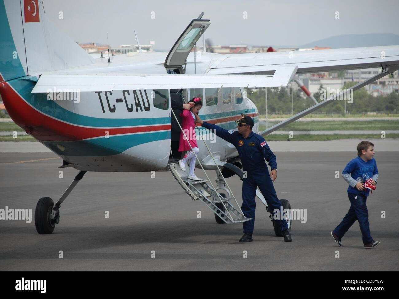 Cessna 206 Caravan aircraft at the Turkish Air Association-THK's Etimesgut Airport during the Air fest - Stock Image