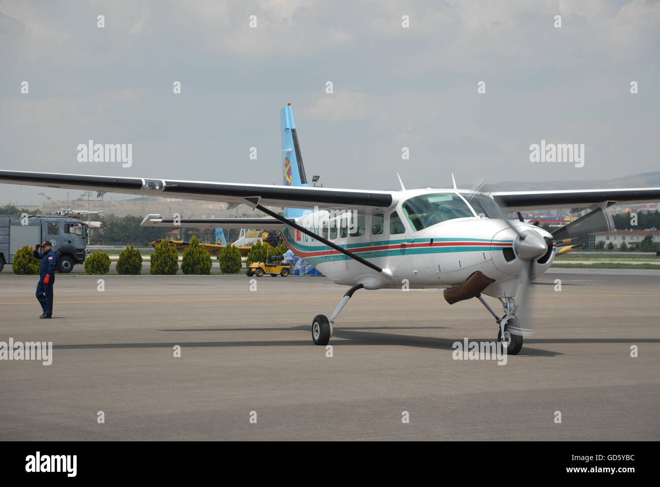 Cessna 206 Caravan aircraft at the Turkish Air Association-THK's Etimesgut Airport during the Air fest - Stock Image