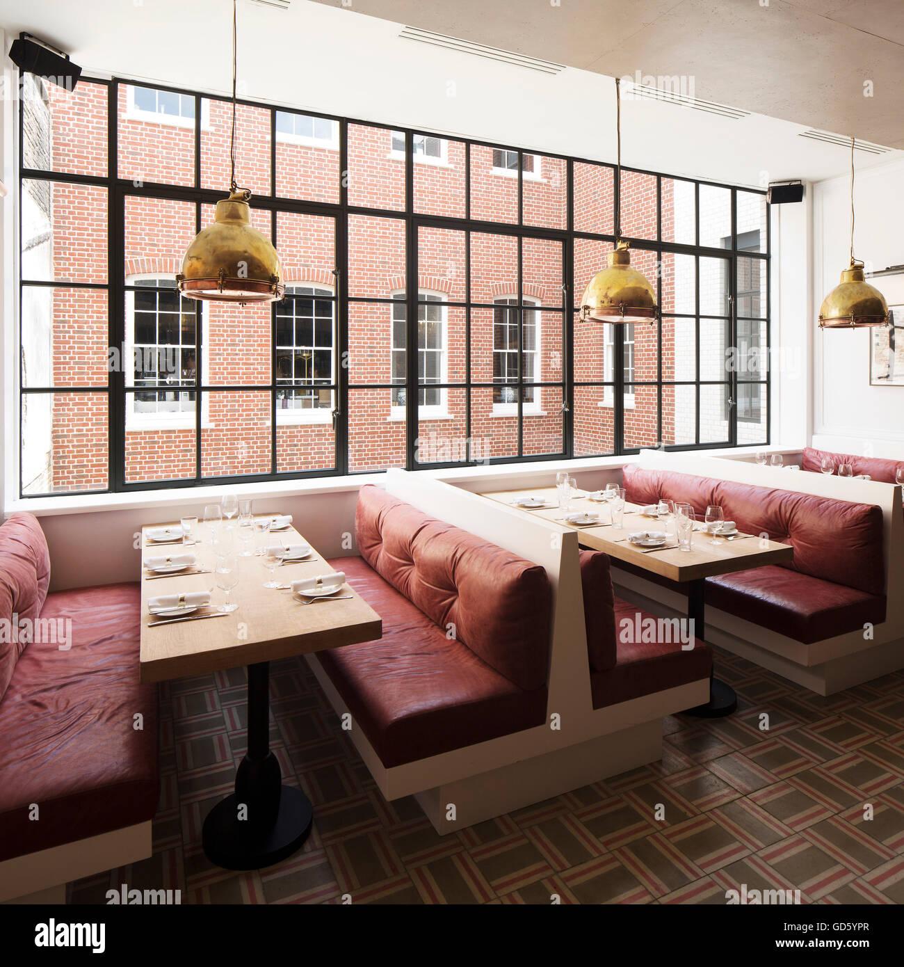 View of restaurant. 76 Dean Street, London, United Kingdom. Architect: SODA., 2016. - Stock Image