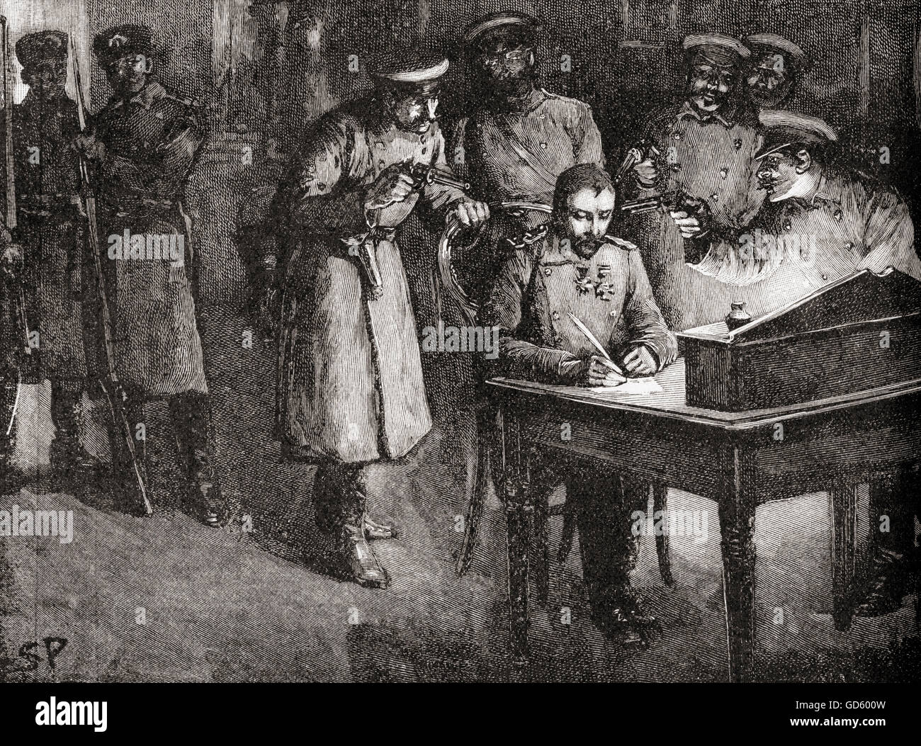 Prince Alexander of Bulgaria forced to sign his abdication, 20 August 1886. Alexander Joseph, 1857 – 1893, aka Alexander - Stock Image