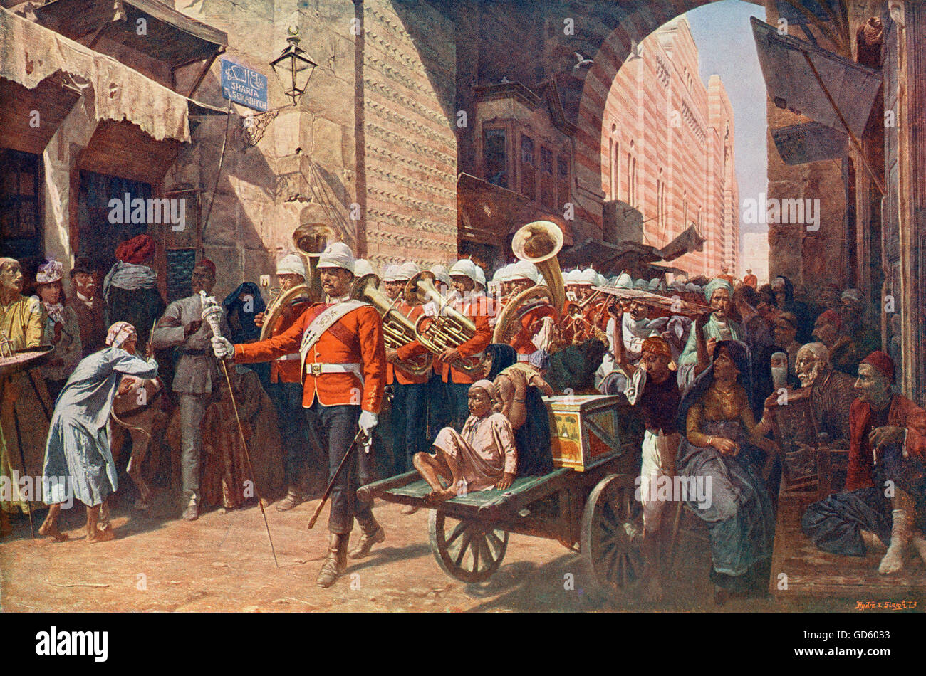 A friendly power in Egypt, after the  painting by W.C. Horsley. The 41st Welsh regiment  marching through the Metwali - Stock Image