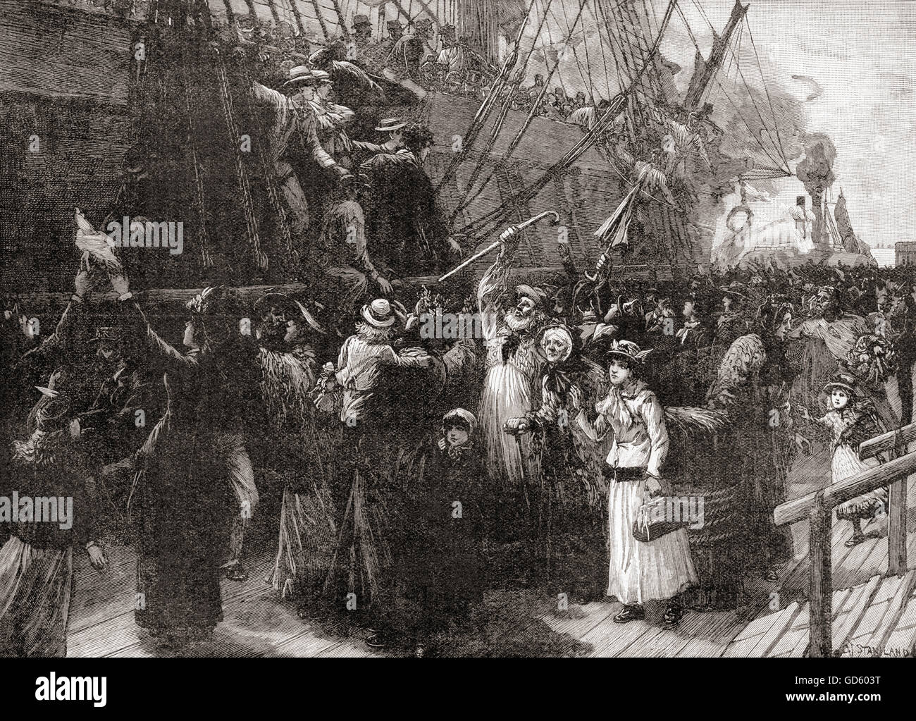 On board an emigrant ship in the 19th century. - Stock Image