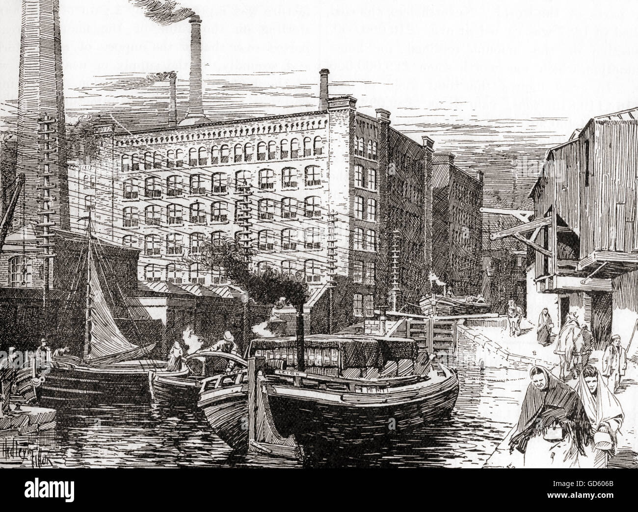 Cotton Mills, Miles Platting, Manchester, England in the 19th century. - Stock Image