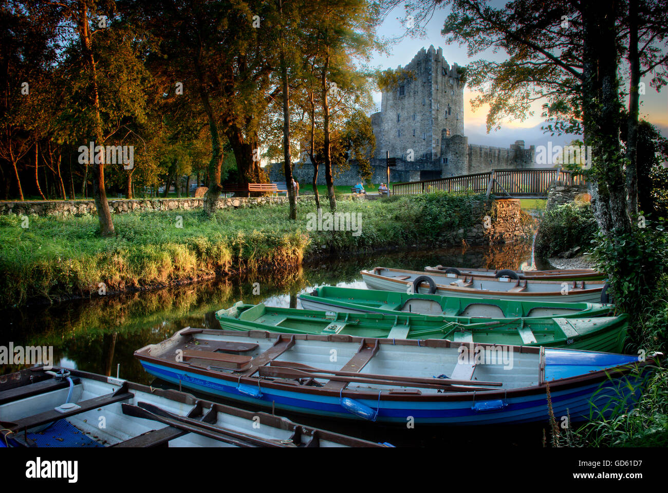 Ross Castle, Lough Leane, Killarney National Park, Co Kerry, Ireland; 15Th Century Castle - Stock Image